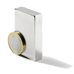 Q-50-25-10-LN, Block magnet 50 x 25 x 10 mm, neodymium, N40, nickel-plated