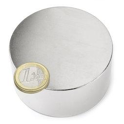 S-70-35-N, Disque magnétique Ø 70 mm, hauteur 35 mm, néodyme, N45, nickelé