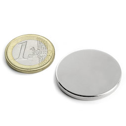 S-30-03-N, Disc magnet Ø 30 mm, height 3 mm, neodymium, N45, nickel-plated