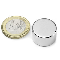 S-20-12-N, Disc magnet Ø 20 mm, height 12 mm, neodymium, N42, nickel-plated