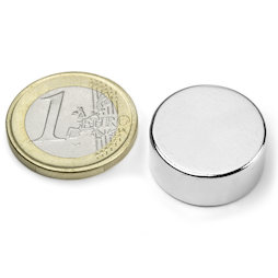 S-20-09-N, Disco magnético Ø 20 mm, alto 9 mm, neodimio, N42, niquelado