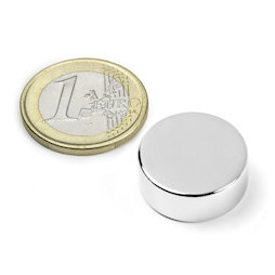 S-20-08-N, Disc magnet Ø 20 mm, height 8 mm, neodymium, N42, nickel-plated