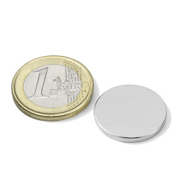 S-20-02-N, Disc magnet Ø 20 mm, height 2 mm, neodymium, N45, nickel-plated