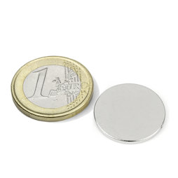 S-20-1.5-N, Disc magnet Ø 20 mm, height 1,5 mm, neodymium, N38, nickel-plated