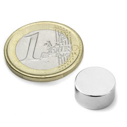 S-12-06-DN, Disc magnet Ø 12 mm, height 6 mm, neodymium, N42, nickel-plated, diametrically magnetised