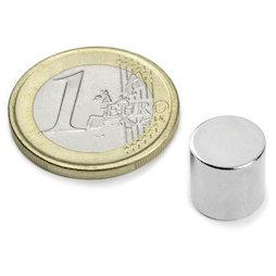 S-10-10-N, Disque magnétique Ø 10 mm, hauteur 10 mm, néodyme, N45, nickelé