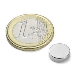S-10-2.5-N, Disque magnétique Ø 10 mm, hauteur 2,5 mm, néodyme, N42, nickelé