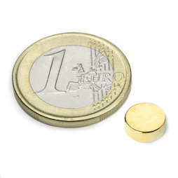 S-08-03-G, Disc magnet Ø 8 mm, height 3 mm, neodymium, N40, gold-plated