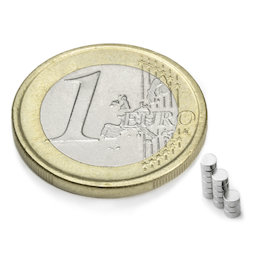 S-02-01-N, Schijfmagneet Ø 2 mm, hoogte 1 mm, neodymium, N48, vernikkeld