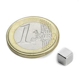 W-05-N, Cubo magnético 5 mm, neodimio, N42, niquelado