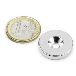 CS-S-23-04-N, Disc magnet Ø 23 mm, height 4 mm, with countersunk borehole, N35, nickel-plated