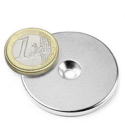 CS-S-42-04-N, Disc magnet Ø 42 mm, height 4 mm, with countersunk borehole, N35, nickel-plated