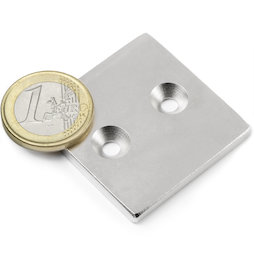 CS-Q-40-40-04-N, Block magnet 40 x 40 x 4 mm, with countersunk borehole, N35, nickel-plated