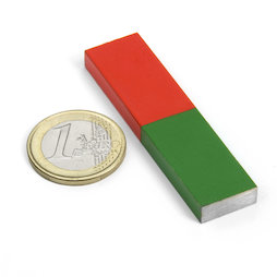 EDU-7, Bar magnet rectangular short, 60 x 15 mm, AlNiCo5, red-green coated