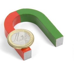 EDU-3, Horseshoe magnet small, 50 x 40 mm, AlNiCo5, red-green coated