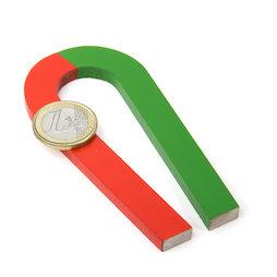 EDU-6, Hufeisenmagnet verjüngend, 100 x 48 mm, aus AlNiCo5, rot-grün lackiert