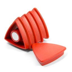 BX-TR30/red, Boston Xtra driehoekig, set met 5 kantoormagneten neodymium, driehoekig, rood