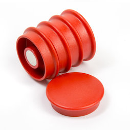 BX-RD30/red, Boston Xtra round, set of 5 office magnets neodymium, round, red