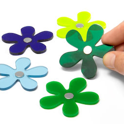 AG-04, Winter Flowers, flower magnets in winter colours, set of 5