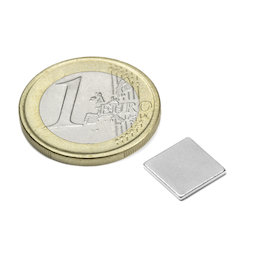 Q-10-10-01-N, Parallelepipedo magnetico 10 x 10 x 1 mm, neodimio, N42, nichelato