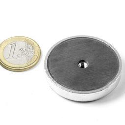 ITF-40, Magnete in ferrite con base in acciaio con filettatura interna M4, Ø 40 mm