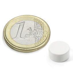 S-10-05-E/white, Kleur wit, Schijfmagneet Ø 10 mm, hoogte 5 mm, neodymium, N42, epoxy coating