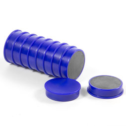 M-OF-RD30/blue, Bordmagneten van ferriet, geplastificeerd, set van 10, blauw