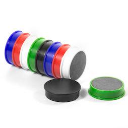 M-OF-RD30/mixed, Bordmagneten van ferriet, geplastificeerd, set van 10, telkens 2 zwart, wit, blauw, rood, groen