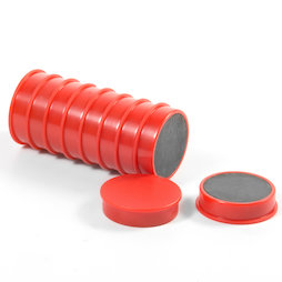 M-OF-RD30/red, Bordmagneten van ferriet, geplastificeerd, set van 10, rood