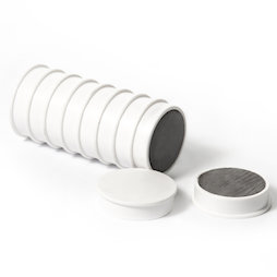 M-OF-RD30/white, Aimants en ferrite pour tableau, plastifiés, lot de 10, blanc