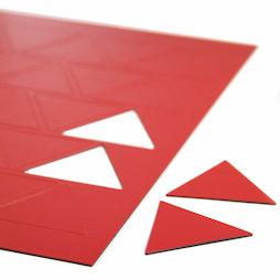 BA-014TR/red, Symboles magnétiques triangle grand, pour tableaux blancs & tableaux de planning, 25 symboles par feuille A4, rouge