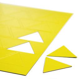 BA-014TR/yellow, Symboles magnétiques triangle grand, pour tableaux blancs & tableaux de planning, 25 symboles par feuille A4, jaune