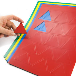 BA-014TR, Magnetic symbols Triangle large, for whiteboards & planning boards, 25 symbols per A4 sheet, in different colours