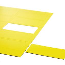 BA-014RE/yellow, Symboles magnétiques rectangle grand, pour tableaux blancs & tableaux de planning, 10 symboles par feuille A4, jaune