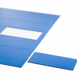 BA-014RE/blue, Symboles magnétiques rectangle grand, pour tableaux blancs & tableaux de planning, 10 symboles par feuille A4, bleu