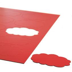 BA-014CL/red, Magnetische symbolen wolk, voor whiteboards & planborden, 10 symbolen per A4-blad, rood