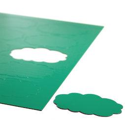 BA-014CL/green, Magnetische symbolen wolk, voor whiteboards & planborden, 10 symbolen per A4-blad, groen