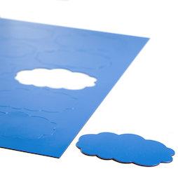 BA-014CL/blue, Magnetische symbolen wolk, voor whiteboards & planborden, 10 symbolen per A4-blad, blauw