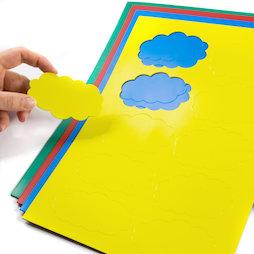 BA-014CL, Magnetische symbolen wolk, voor whiteboards & planborden, 10 symbolen per A4-blad, in verschillende kleuren