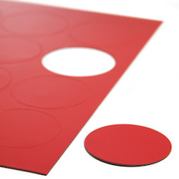 BA-014CI/red, Symboles magnétiques rond grand, pour tableaux blancs & tableaux de planning, 12 symboles par feuille A4, rouge