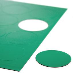 BA-014CI/green, Symboles magnétiques rond grand, pour tableaux blancs & tableaux de planning, 12 symboles par feuille A4, vert