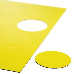 BA-014CI/yellow, Magnetische symbolen cirkel groot, voor whiteboards & planborden, 12 symbolen per A4-blad, geel