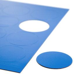 BA-014CI/blue, Magnetische symbolen cirkel groot, voor whiteboards & planborden, 12 symbolen per A4-blad, blauw