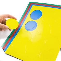 BA-014CI, Magnetische symbolen cirkel groot, voor whiteboards & planborden, 12 symbolen per A4-blad, in verschillende kleuren
