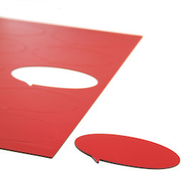 BA-014BO/red, Magneetsymbolen tekstballon ovaal, voor whiteboards & planborden, 10 symbolen per A4-blad, rood