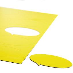 BA-014BO/yellow, Magneetsymbolen tekstballon ovaal, voor whiteboards & planborden, 10 symbolen per A4-blad, geel
