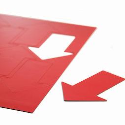 BA-014AR/red, Magnetische symbolen pijl groot, voor whiteboards & planborden, 8 symbolen per A4-blad, rood