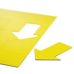BA-014AR/yellow, Magnetische symbolen pijl groot, voor whiteboards & planborden, 8 symbolen per A4-blad, geel