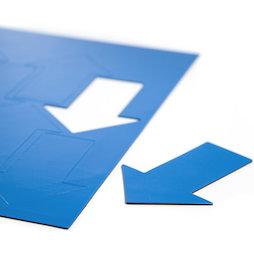 BA-014AR/blue, Symboles magnétiques flèche grande, pour tableaux blancs & tableaux de planning, 8 symboles par feuille A4, bleu