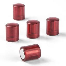 M-PC/redt, Aimants tableau cylindriques, aimants néodyme avec capuchon en plastique, Ø 14 mm, rouge transparent